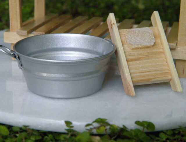 Miniature Dollhouse FAIRY GARDEN Accessories ~ Metal Washtub & Wood Washboard