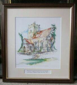 ORIGINAL-WATERCOLOUR-INK-PAINTING-OF-ALL-SAINT-CHURCH-IN-FORDHAM-ESSEX-SIGNED