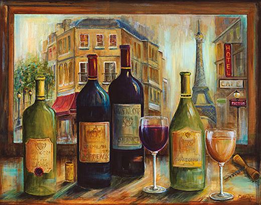 Marilyn Dunlap  Bistro de Paris Keilrahmen-Bild Leinwand Wein Küche Flaschen