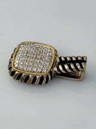 Olivia Diamond Cushion Shape Pendant Two Tone Sterling Silver Lot #162 Bel