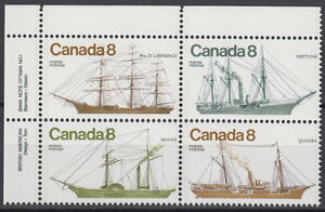 CANADA-673a-8-Coastal-Vessels-UL-Inscription-Block-MNH