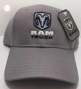 0f19baa637b Dodge Ram Truck Emblem New Logo Hat Cap Grey Mesh Trucker HEMI MOPAR ...