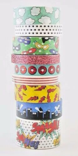 9 Rolls Comic Strip Super Hero Washi Tape Tube Papercraft Planner Supply DIY