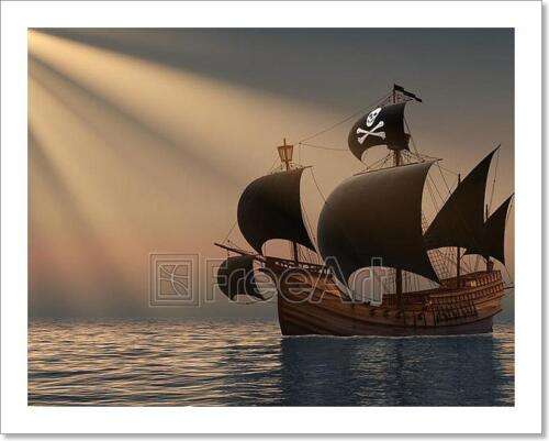 Pirate Ship In Rays Of The Sun Art Print Home Decor Wall Art Poster C
