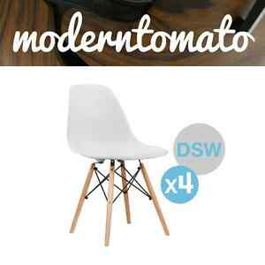 ( Set of 4 ) Premium White DSW Dowel Wood Leg Side Chair Mid Century Modern MCM