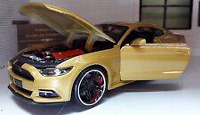 Gold Maßangefertigt Ford Mustang 2015 3.7 5.0 V8 GT 1:24 Maßstab Maisto