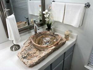 Natural Stone Bathroom Vessel Sink Rustic Red Travertine Stone Beautiful Ebay