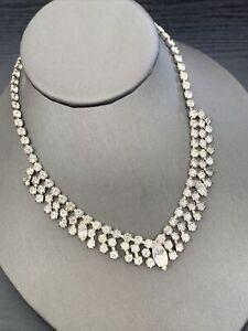 "1950's Clear Prong Set Rhinestone 3 Row Necklace Wedding Flower Girl 14"""