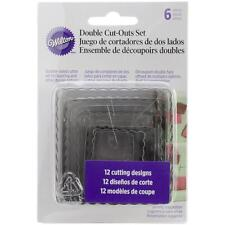 Wilton Nesting Fondant Double COOKIE CUTTERS ~ SQUARE Set of 6; Pastry Cutter