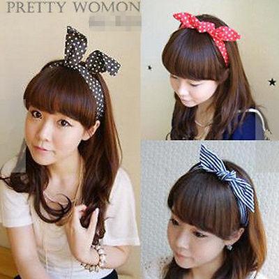 XICA Lovely Rabbit Bunny Ear Ribbon Metal Wire Headband Scarf Hair Head Band Bow