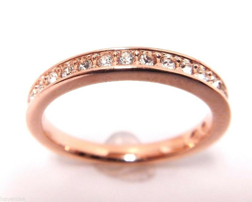RARE CRYSTAL RING pink gold PLATED SIZE 5 SWAROVSKI JEWELRY 5032898