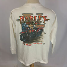 Vintage White Harley Davidson T Shirt 90s Knucklehead Flathead 45 Motorcycle