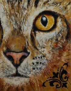 EGYPTIAN-MAU-11x14-034-Oil-Painting-Cat-Face-Pet-Portrait-Original-Art-M-Creese
