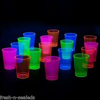 Neon Party Cups Hard Plastic Assorted Blacklight Reactive Fun 10 oz Drink 50 ct