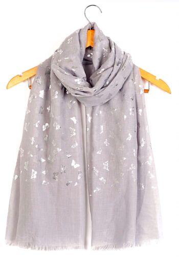 BELLISSIMO Silver Foil Farfalla Maxi Avvolgi Sciarpa Scialle Grande Caldo /& Morbido
