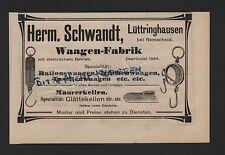 LÜTTRINGHAUSEN-REMSCHEID, Anzeige 1909, Herm. Schwandt Waagen-Fabrik