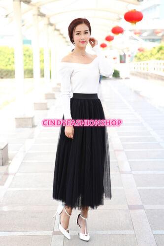 Women Elegant Pleated Maxi Tulle Skirt Big Swing Long High Waist Adult Skirt