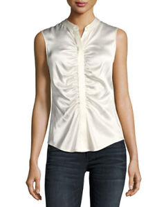 Theory-Ivory-Ruched-Fitted-Stretch-Silk-Satin-Sleeveless-Top-Blouse-SZ-M