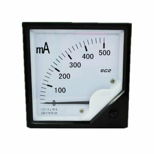 1PC DC 0-500 mA Analog Panel Courant Meter Ampèremètre Gauge 6C2 80*80