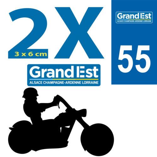 2 Stickers 54 autocollants style plaque immatriculation MOTO 54 REGION Grand Est