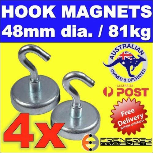 4X Strong Magnetic HOOKS 48mm 81kg Neodymium Rare Earth Magnets Industrial Shop
