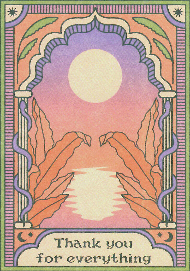 Fine Art tarjetas de felicitación gracias cumpleaños Hippie 70s Boho en Blanco Cai & jo