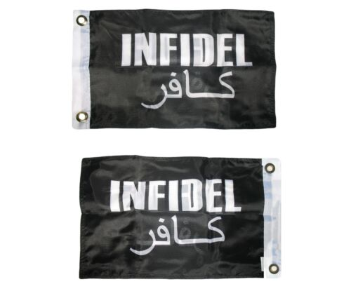 12x18 US Military Infidel Black Boat Flag Double Sided 2ply Polyester 12x18
