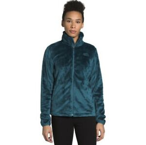 The North Face Women's Osito Teal Green Fuzzy Full Zip Up Jacket, Size Medium