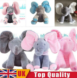 Animated Singing Elephant Stuffed Baby Plush Toy Peek-a-Boo Play Music Xams Gift