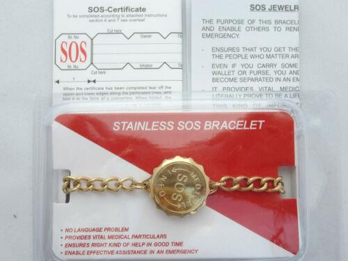 SOS BRACELET LADIES//MENS 9ct GOLD PLATED STAINLESS STEEL//TALISMAN//MEDICAL ALERT
