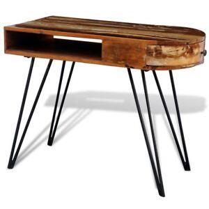 Bureau-tables-d-039-ordinateur-en-bois-solide-recycle-avec-pieds-broche-en-fer