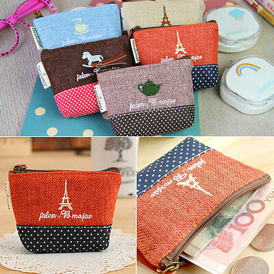 New Women Lady Vintage Coin Card Makeup Purse Pouch Key Ring Bag Handbag