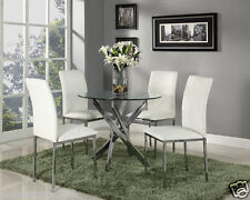 Clear Glass Round Dining Table And 4 Faux Leather Dining Chairs Set