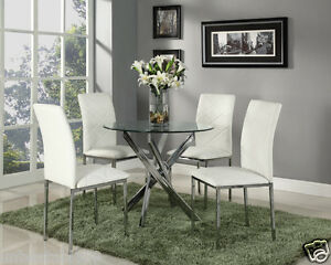 Image Is Loading Glass Round Dining Table Set And 4 White