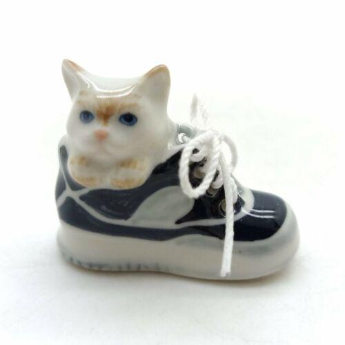 CCK133 Cat Kitten Figurine Animal Ceramic Statue Sitting in Black Shoe