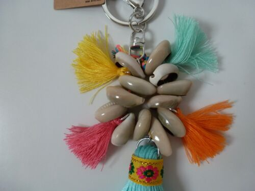 Tribal Trivia Sea Shell /& Tassel Multi Coloured Pastel Key Ring//Bag Charm 14cm