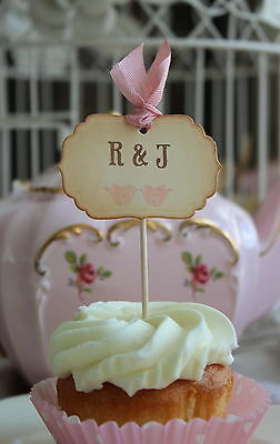 LOVE BIRDS-Personalised  Cup Cake Toppers-Vintage Style-Set of 6-Wedding-Unique