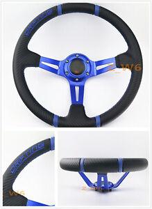 350MM DEEP DISH Blue 3D PVC Racing Drifting Sport JDM Off Road Steering Wheel