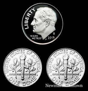 2015-P-D-S-Roosevelt-Dime-Mint-Proof-Set-PD-U-S-Coins-from-Bank-Rolls