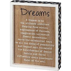 Dreams A Chance To Be Details about  /Primitives Inset Box Sign