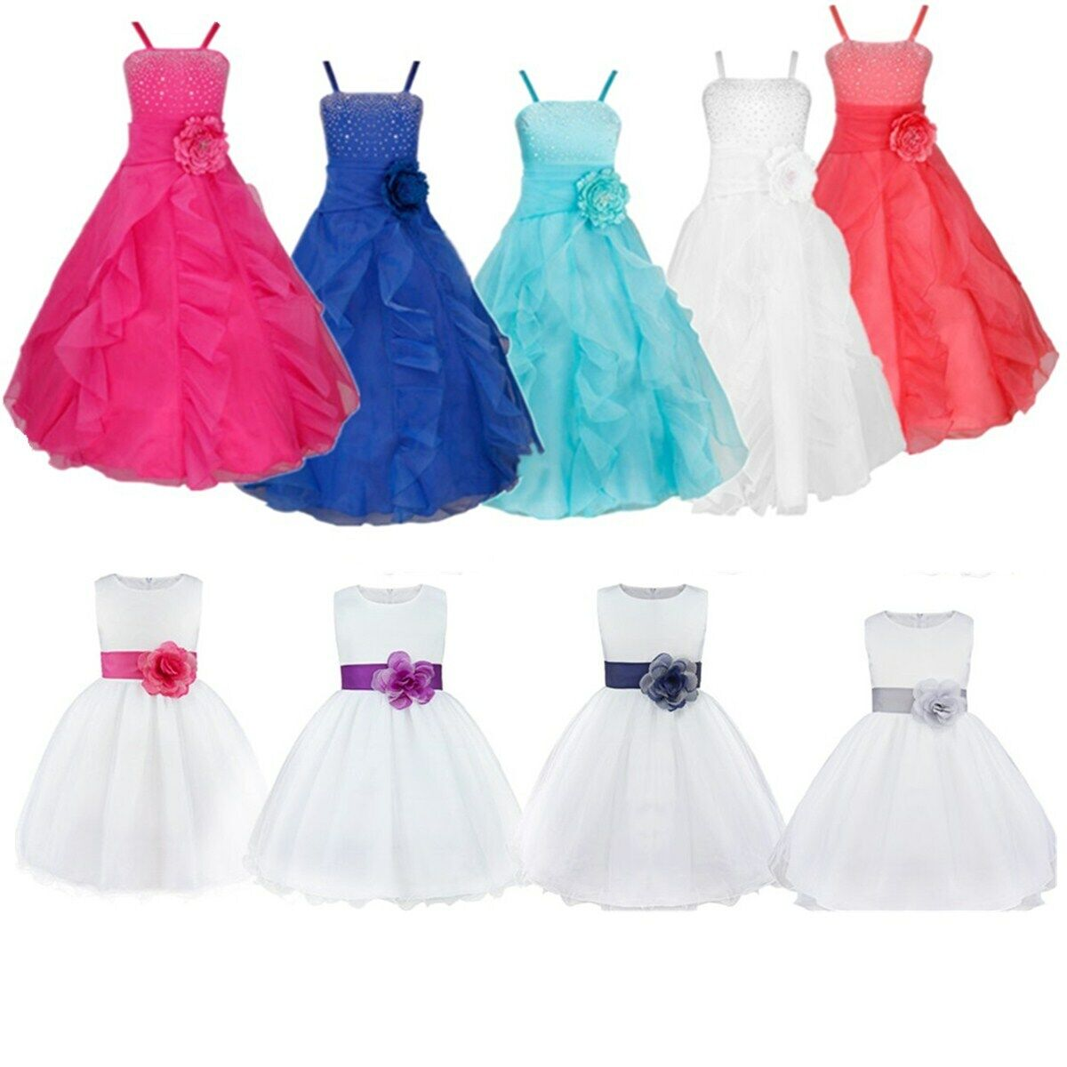 Kids Bridesmaid Gown Flower Girls Dress Princess Wedding Pageant Formal Party