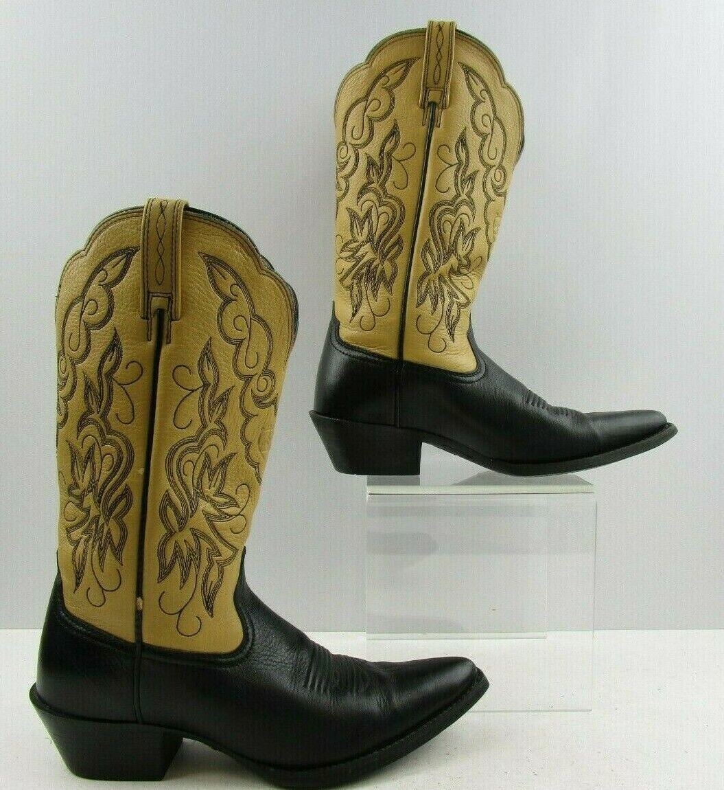 Ladies Ariat Two Tone Tan Black Leather Cowboy Western Boots Size  6 B