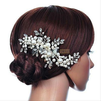 Leaf Wedding Bridal Tiara Hair Accessory Crystal Faux Pearl Hair Comb Clip New
