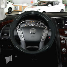 Anti-Slip Black Carbon Fiber Top PVC Leather Steering Wheel Cover for Nissan