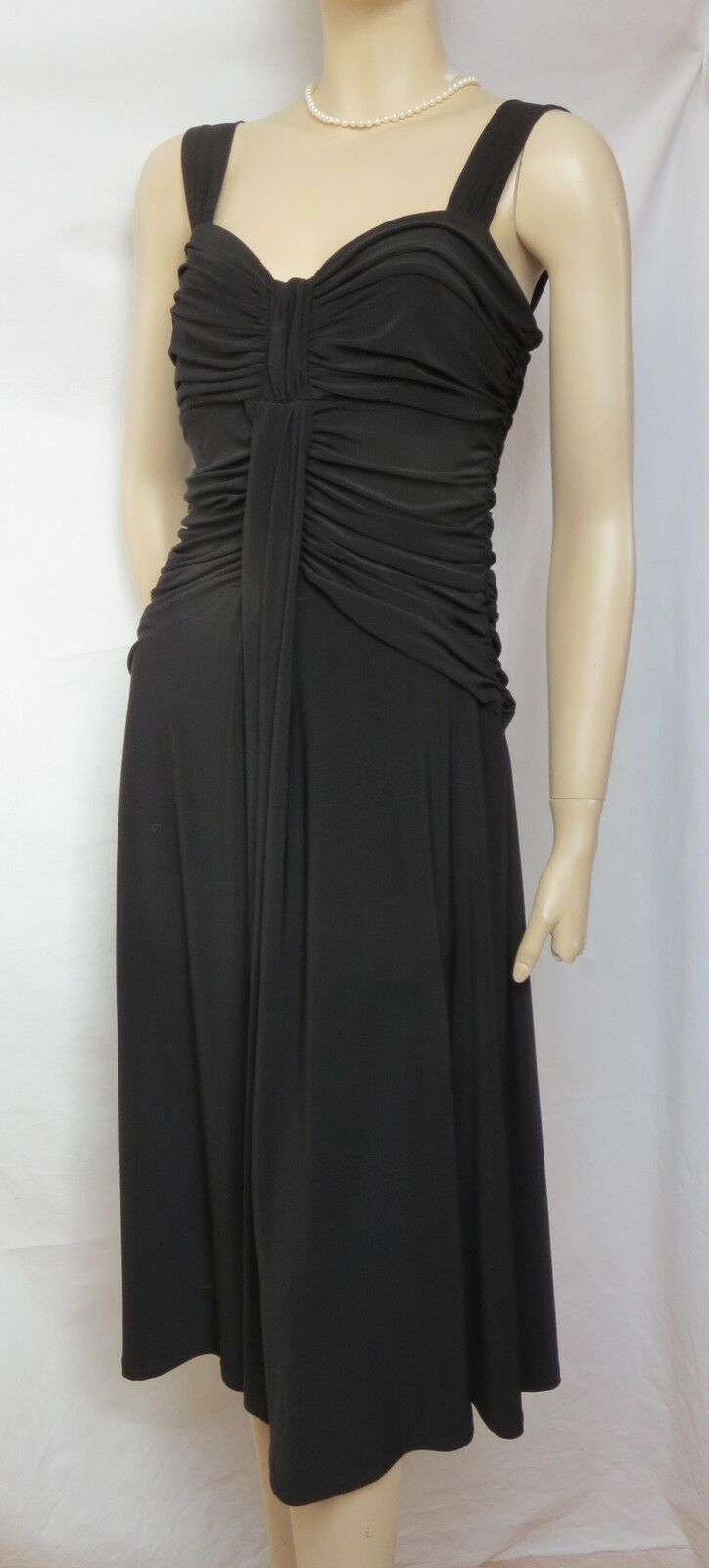 Laura Ashley Kleid 40 Hochzeit schwarz Jersey Wickel-Optik Konfirmation Cocktail