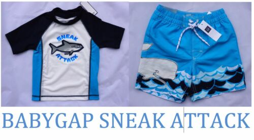 18-24 BabyGap Boys Sneak Attack Rash guard /& Swim Shorts Trunks  sz 12-18 3 2