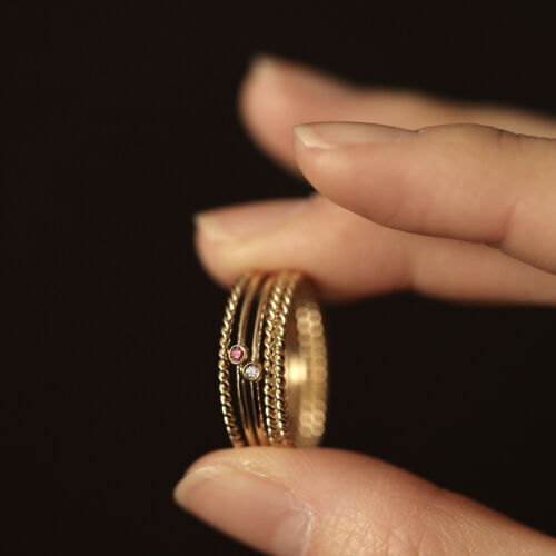 14K Solid Gold Twist Rope Ring 1.2mm Twisted Ring Band Stacking Matching Wedding