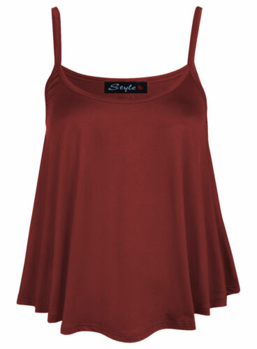 Womens Plain Swing Vest Sleeveless Top Strappy Cami Ladies Plus Size Flared UK