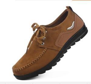 Homme-Lacets-Decontractees-Cuir-Pekin-Style-Respirant-Confort-de-conduite-Chaussures-NOUVEAU