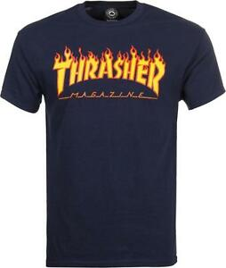 THRASHER-T-SHIRT-FLAME-MAG-LOGO-NAVY